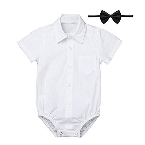 Knowin-baby body Formelle Hemden Gentleman Romper Bodysuit Hochzeitsfest-Outfits Kurzarm Hemd mit Abnehmbarer/Langarmbody Junge/Jersey-Qualität/weiß Baby Einfarbig Kurzarmhemd + Fliege (Papa Und Baby Star Wars Kostüm)