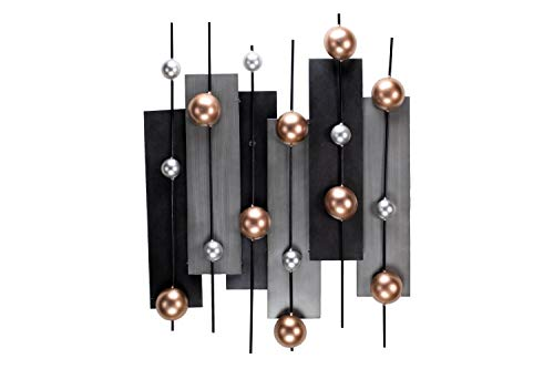 KunstLoft Extravagante Metall Wandskulptur \'Disparate Harmony\' 60x80x6cm | Design Wanddeko XXL handgefertigt | Luxus Metallbild Wandrelief | Abstrakt Formen Kupfer Grau | Wandbild modern