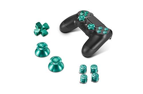 Supremery Playstation 4 Dualshock 4 Aluminium Buttons Kappen Thumbsticks Ersatzteile Zubehör für PS4 (Bullet Grün)