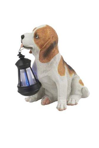 uchte Kunststoff Hund schwarz-weiß1 x LED weiß, 22 x 17 cm, H: 25.5 cm, 33371 (Kunststoff-figuren Hund)