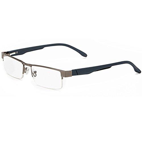 LANOMI Lesebrillen Metall Sehhilfe Augenoptik Halbrand Halbrandbrille Brille Lesehilfe für Damen Herren von 1.0 1.5 2.0 2.5 3.0 3.5 4.0 (Grau, 1.0) (Metall Damen)