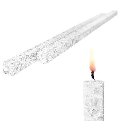 Amabiente Wachskerze 2-er Set Weiß Stabkerze Bio-Stearin Hochzeitskerze 40 cm