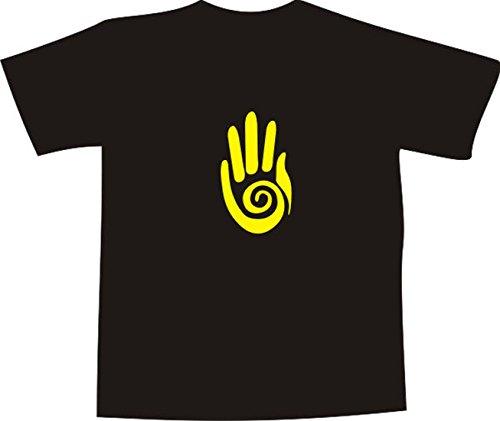 T-Shirt E102 Schönes T-Shirt mit farbigem Brustaufdruck - Logo / Comic - minimalistische Grafik / gelbe Hand mit Spirale Weiß