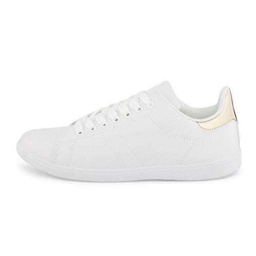 best-boots Damen Herren Low-Top Sneaker Flats Turnschuhe Retro Weiß / Gold