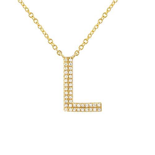 Einzigartiger Anhänger aus 14 Karat Gelbgold, Buchstabe L, 0,09 kt Labor kreierter Diamant-Messer,...