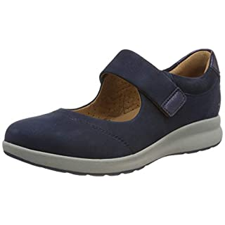 Clarks Women's Un Adorn Strap Loafers, Blue (Navy Combi 5.5 UK