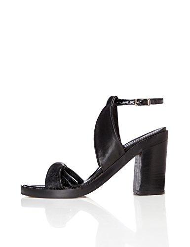 FIND Damen Absatzschuhe mit Glitter-Optik, Schwarz (Black), 39 EU (Riemchen Leder-look Schwarzer)