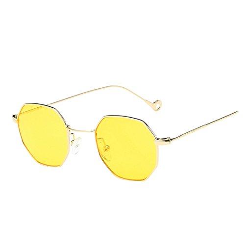 Sommer Brille FORH Unisex Mode Polarisierte Katzenaugen Sonnenbrille Klassische Unregelmäßige Rahmen Gläser Outdoor Sportarten Schutz Brille UV-Schutz Fahrbrille (Gelb)