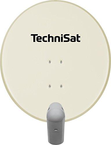 TechniSat SATMAN 650 PLUS Satellitenschüssel, 65 cm Sat-Anlage mit Masthalterung und Universal-Quattro-Switch-LNB (4 Teilnehmer) beige