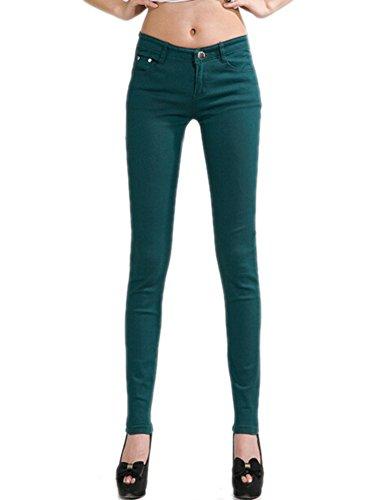 DELEY Donne Solide Basic Pantaloni Skinny Leg Stretch Fit Juniors Jeans Jegging Verde scuro