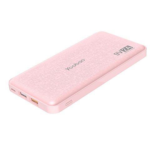 Yoobao Batterie Externe Charge Rapide 12000mAh Power Bank Chargeur Portable 2 USB Quick Charge 3.0 Compatible avec iPhone, iPad, Samsung, Huawei, Téléphone et Tablette - Rose