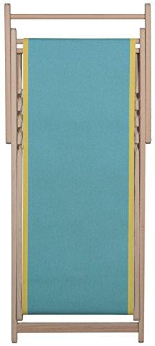 Chaise longue transat chilienne Uni turquoise bord jaune - Toiles du Soleil