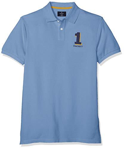 Hackett Herren New Classic Poloshirt, Blau (Light Blue 501), Medium (Herstellergröße:M) - Logo Bestickte Jeans Shirts