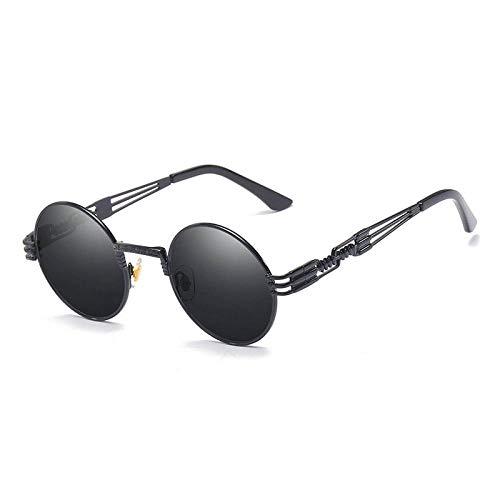 CYCY Sonnenbrillen Punk Steam Prince Spiegel runden Rahmen Double Spring Brillengestell Männer und Frauen Sonnenbrillen YQQ schwarzen Rahmen roten Film, Leuchtend schwarz alle grau