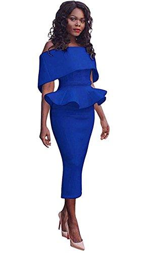 Honestyi Damen Große Größe Büro Dame Formal Business Work Abend Partei Elegantes Mermaid Bleistift-Kleid Cocktailkleider Slim Partykleider (M, Blau)