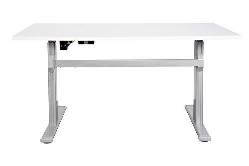 Schreibtisch mit elektrischer Höhenverstellung ergonomisch Sitz- Stehtisch Bürotisch Arbeitstisch (140 x 80 cm, Weiß)