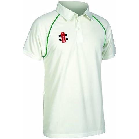 Nuevo Gris Nicolls Matrix manga corta camiseta de Cricket partido jugando para hombre deportes Top, color verde, tamaño 7-8