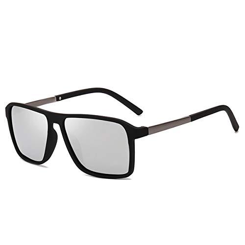Sonnenbrillen NEW Polarized Sunglasses Men Mirrored Driving Glasses Black Rectangle Sunglasses Male Cool Fashion Classic S6076 Silver