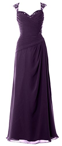 MACloth Women Cap Sleeves Long Mother of Bride Dress Open Back Party Formal Gown Prune