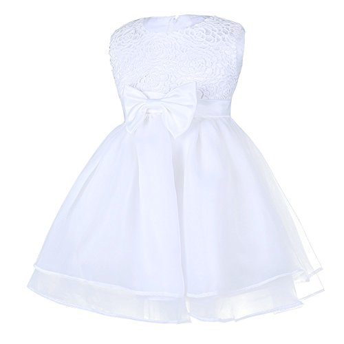 Tiaobug Baby Kleid für Mädchen weiß Taufkleider - baby festliche Kleider für Hochzeit Kommunionkleider 6-24 Monate Weiß 68-74 - 2