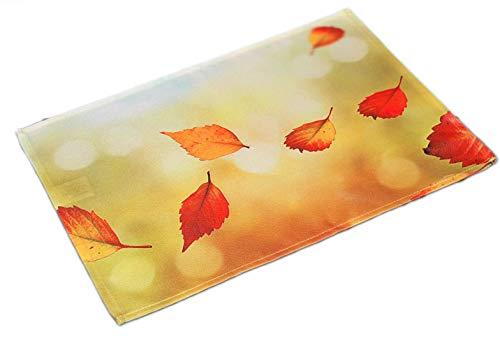 Farbenfrohe Tischdecke Decke Deckchen Herbst Hellgrün Blätter Blatt Bunt Platzdeckchen Pflegeleicht Bügelfrei (35 x 50 cm) (Tischdekoration Preiswerte Halloween)
