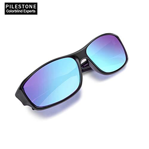 PILESTONE TP-028 (Tipo B) Gafas Daltónicas de Color Rojo/Verde - Lentes Deportivos para Exterior para Daltonismo - Deután Moderado,Fuerte y Severo (verde) - Protán Moderado, Fuerte (rojo)
