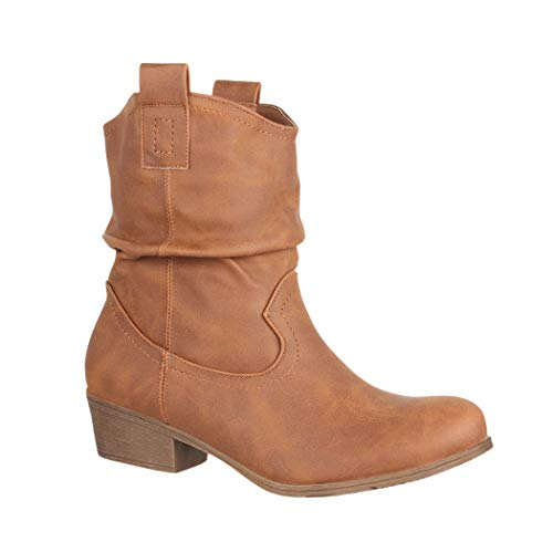 Elara Damen Schlupf Stiefel | Reiter Stiefeletten | Biker Boots Kult | Gefüttert LR9036 Camel-40