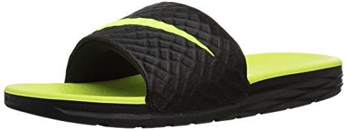 Nike benassi solarsoft slide, scarpe da fitness uomo, (black/volt 070), 46 eu