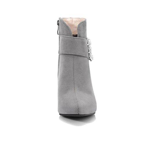 WYWQ Donna Kitten Heel Martin Stivali in pelle scamosciata extra large taglia 40-48 Yards strass punta a punta tacco alto stivaletti laterali con cerniera gray