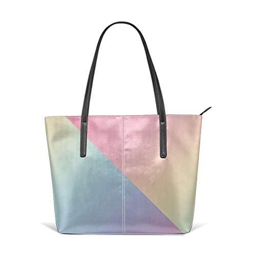 xcvgcxcbaoabo Mode Handtaschen Einkaufstasche Top Griff Umhängetaschen Geometric abstract rainbow gradient Leather Tote Large Purse Shoulder Bag Portable Storage HandBags Convenient Shoppers Tote