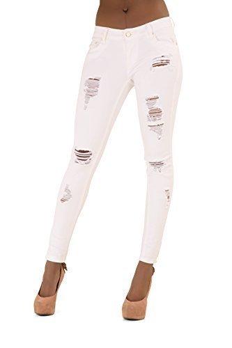 Donna Medio Alta Strappato Stile Jeans Aderenti Taglie 6 8 10 12 14 - cotone, Bianco, 2% elastene 98% cotone, Donna, M 38 EU - vita 72cm