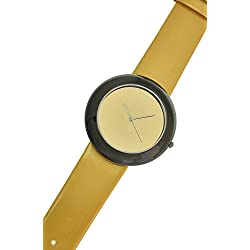 RITAL Women Wrist Watch Fashion Design Simple Clean Gold Dial Black Case and Yellow Strap Extremely Fashionable Wrist Watch for Women and Girls