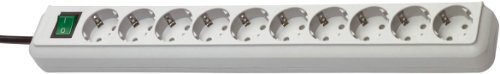 Brennenstuhl Eco-Line, Steckdosenleiste 10-fach (mit Schalter und 3m Kabel - besonders stromsparend) Farbe: lichtgrau