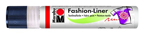 Marabu Fashion-Liner - Pennarello per Tessuto, 25 ml, Colore: Bianc