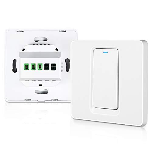 Miuzei Wifi Smart Lichtschalter, WLAN Wandschalter, 1 Gang Benötigt Nullleiter, Physische Taste Schalter, Kompatibel mit Alexa, Google Home und IFTTT, 2,4 GHz, Kein Hub Erforderlich (1 Gang)