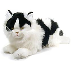 Gato tumbado blanco y negro de peluche (45 cm)