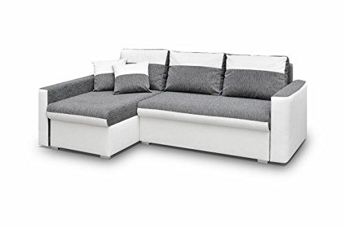 Ecksofa Sofa Eckcouch Couch mit Schlaffunktion und zwei Bettkasten Ottomane L-Form Schlafsofa Bettsofa Polstergarnitur - BERLIN (Ecksofa Links, Weiß)