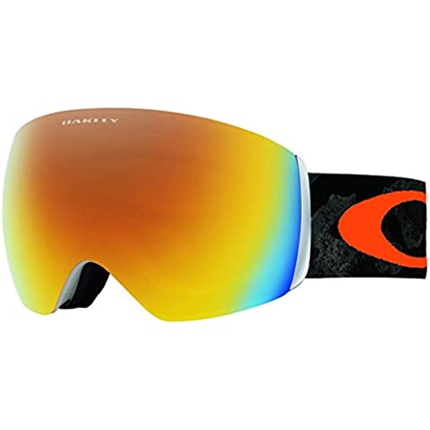 Oakley Flight Deck OO7050-08 Máscara de Snowboard, color naranja (con logo naranja, banda negra y lente fuego iridio)
