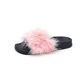 V-DOTE Women's Girls Fluffy Sliders Fox Fur Pom Slippers Flip Flops Sandals Pink Size 4