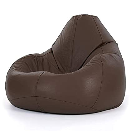 Bean Bag Bazaar Puf de Piel Real – XXL Gigante reclinable en Piel Marrón – Icon Designer