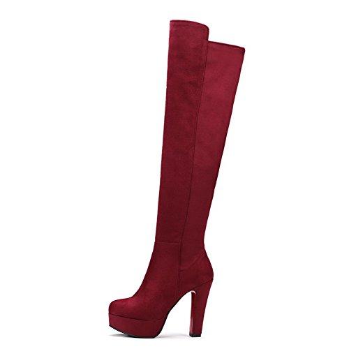VogueZone009 Damen Mattglasbirne Rund Zehe Rein Oberschenkel Hohe Hoher Absatz Stiefel, Rot, 37
