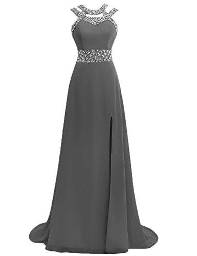 JAEDEN Damen Chiffon Neckholder Ballkleider Lang Abendkleider Festkleid Formales Kleid Grau