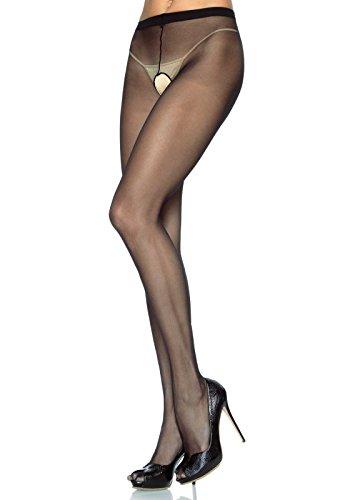 Preisvergleich Produktbild Leg Avenue 1905 - Durchscheinend Nylon Strumpfhosen Mit Offenem Schritt, Einheitsgröße (EUR 36-40), Dessous Damen Reizwäsche