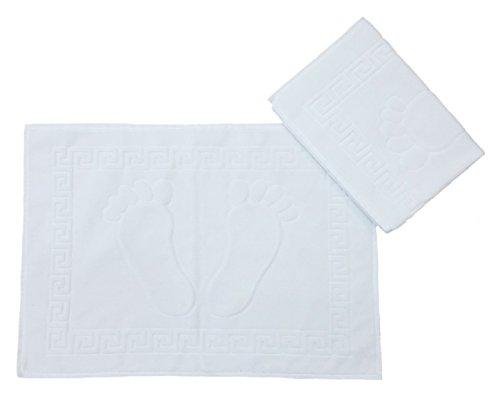 2pezzi per bagno, 70x 50cm, Bianco, Tappetino da doccia, Zerbino 100% cotone