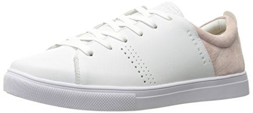 Skechers Damen Moda-Clean Street Sneaker, Weiß (White/Pink), 38 - Skechers-damen-mode