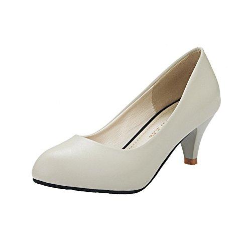 AgeeMi Shoes Damen Ziehen auf PU Kitten-Heels Pumps Schuhe,EuD60 Weiß 37