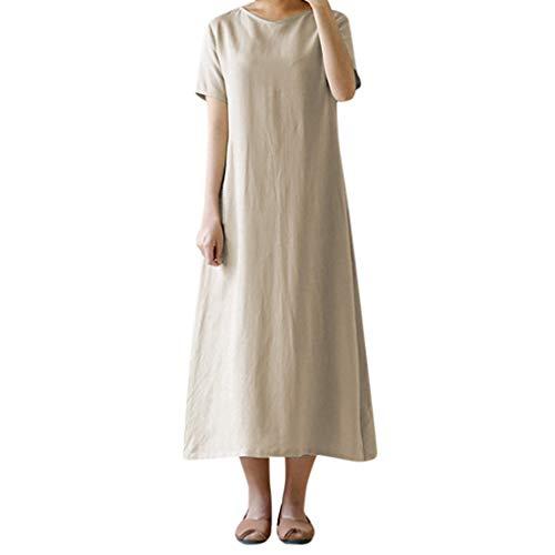 Cebbay Frauen Sommer Kurzarm Taschen Feste Lose Beiläufiges Langes Kleid A-Line Bequem Dress(Khaki,EU-38/CN-L) - Khaki Pleated Skirt