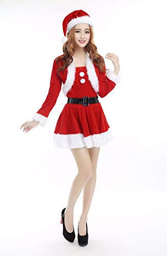 SDLRYF Weihnachtsmann Kostüm Weihnachten Kostüm Erwachsene Frau Kostüm Santa Claus Cos Kostüm Bühne Kostüm Party Nacht Feld Tanz Kostüm, - Santa Claus Tanz Kostüm