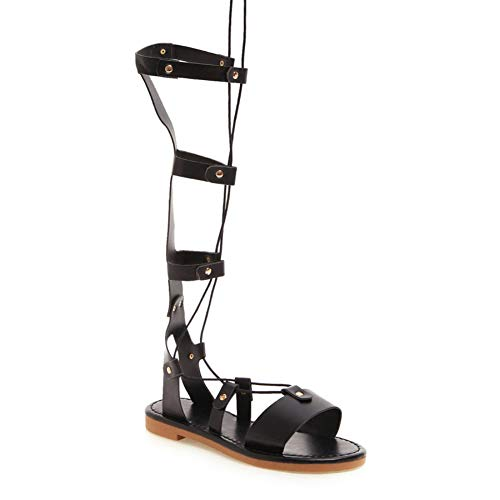 TYXWF Womens Ankle Strap Block Sandalen High Heels,Black,39 -