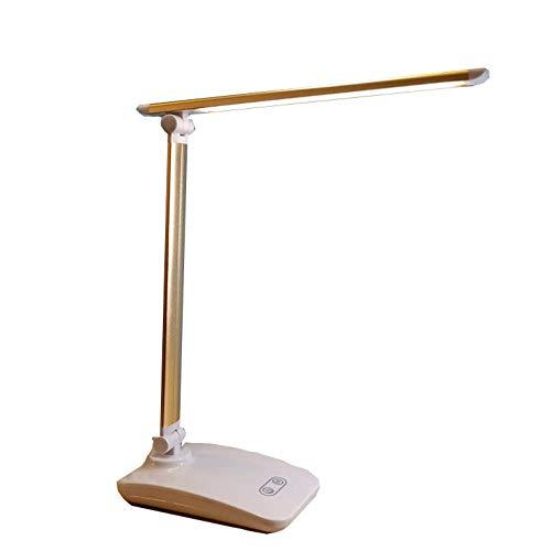 JCZR Berühren Sie Das Dimmen, Das Schreibtischlampe USB-Ed-Augenlampe Studentenschreibtischlampe Faltende Leselampe Verdoppelt,Champagnegold-Metal